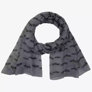 Dark Gray Black Bat Scarf Wrap Halloween Goth New